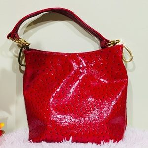 Braciano Red Shoulder Bag with gold Hardware